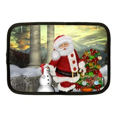 Sanata Claus With Snowman And Christmas Tree Netbook Case (medium)  by FantasyWorld7