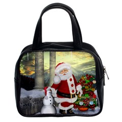 Sanata Claus With Snowman And Christmas Tree Classic Handbags (2 Sides) by FantasyWorld7