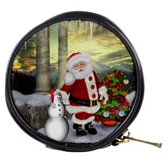 Sanata Claus With Snowman And Christmas Tree Mini Makeup Bags by FantasyWorld7