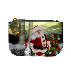 Sanata Claus With Snowman And Christmas Tree Mini Coin Purses by FantasyWorld7