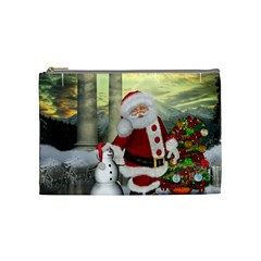 Sanata Claus With Snowman And Christmas Tree Cosmetic Bag (medium)  by FantasyWorld7