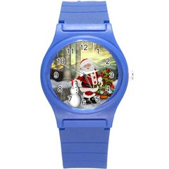 Sanata Claus With Snowman And Christmas Tree Round Plastic Sport Watch (s) by FantasyWorld7