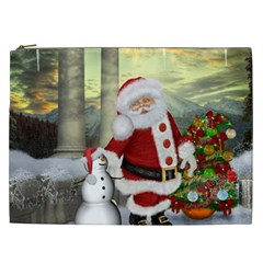 Sanata Claus With Snowman And Christmas Tree Cosmetic Bag (xxl)  by FantasyWorld7