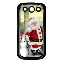 Sanata Claus With Snowman And Christmas Tree Samsung Galaxy S3 Back Case (black) by FantasyWorld7