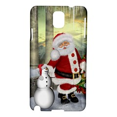 Sanata Claus With Snowman And Christmas Tree Samsung Galaxy Note 3 N9005 Hardshell Case by FantasyWorld7