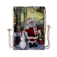 Sanata Claus With Snowman And Christmas Tree Drawstring Bag (small) by FantasyWorld7