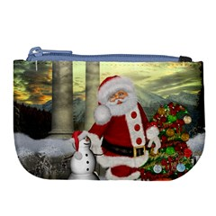 Sanata Claus With Snowman And Christmas Tree Large Coin Purse by FantasyWorld7