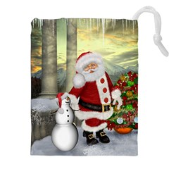 Sanata Claus With Snowman And Christmas Tree Drawstring Pouches (xxl) by FantasyWorld7