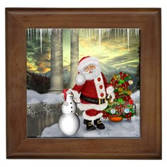 Sanata Claus With Snowman And Christmas Tree Framed Tiles by FantasyWorld7
