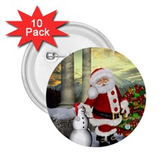 Sanata Claus With Snowman And Christmas Tree 2 25  Buttons (10 Pack)