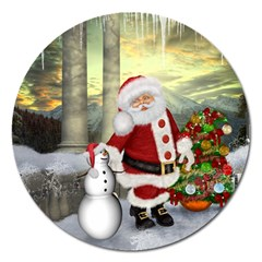 Sanata Claus With Snowman And Christmas Tree Magnet 5  (round) by FantasyWorld7