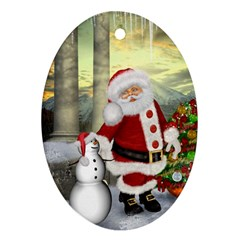 Sanata Claus With Snowman And Christmas Tree Oval Ornament (two Sides)