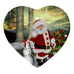 Sanata Claus With Snowman And Christmas Tree Heart Ornament (two Sides) by FantasyWorld7