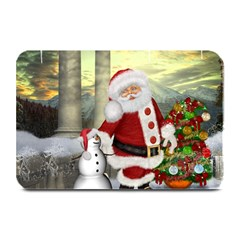 Sanata Claus With Snowman And Christmas Tree Plate Mats by FantasyWorld7