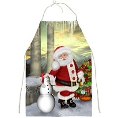 Sanata Claus With Snowman And Christmas Tree Full Print Aprons by FantasyWorld7