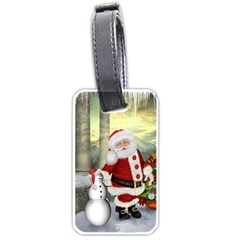 Sanata Claus With Snowman And Christmas Tree Luggage Tags (one Side)  by FantasyWorld7
