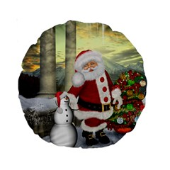 Sanata Claus With Snowman And Christmas Tree Standard 15  Premium Round Cushions by FantasyWorld7