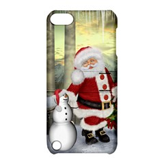 Sanata Claus With Snowman And Christmas Tree Apple Ipod Touch 5 Hardshell Case With Stand by FantasyWorld7