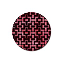 Woven1 Black Marble & Red Watercolor (r) Rubber Round Coaster (4 Pack)  by trendistuff