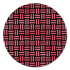 Woven1 Black Marble & Red Watercolor (r) Magnet 5  (round) by trendistuff