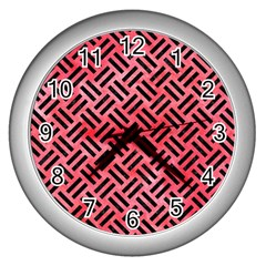 Woven2 Black Marble & Red Watercolor Wall Clocks (silver)  by trendistuff