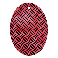 Woven2 Black Marble & Red Watercolor Oval Ornament (two Sides) by trendistuff