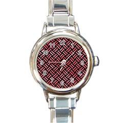 Woven2 Black Marble & Red Watercolor (r) Round Italian Charm Watch by trendistuff