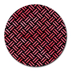 Woven2 Black Marble & Red Watercolor (r) Round Mousepads by trendistuff