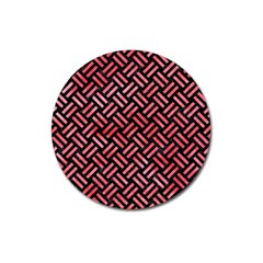 Woven2 Black Marble & Red Watercolor (r) Magnet 3  (round) by trendistuff