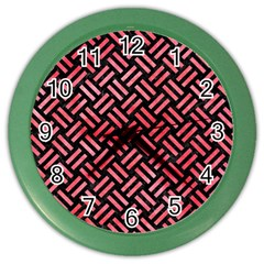 Woven2 Black Marble & Red Watercolor (r) Color Wall Clocks by trendistuff