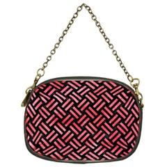Woven2 Black Marble & Red Watercolor (r) Chain Purses (one Side)  by trendistuff