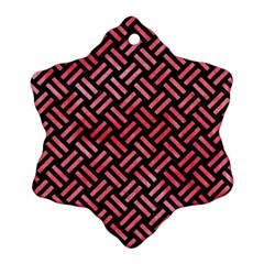 Woven2 Black Marble & Red Watercolor (r) Snowflake Ornament (two Sides) by trendistuff