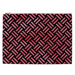 Woven2 Black Marble & Red Watercolor (r) Cosmetic Bag (xxl)  by trendistuff