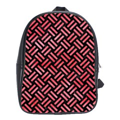 Woven2 Black Marble & Red Watercolor (r) School Bag (xl) by trendistuff