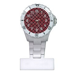 Woven2 Black Marble & Red Watercolor (r) Plastic Nurses Watch by trendistuff