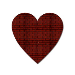 Brick1 Black Marble & Red Wood Heart Magnet by trendistuff