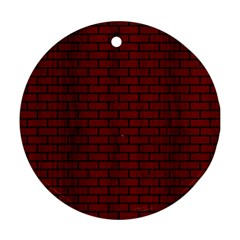 Brick1 Black Marble & Red Wood Round Ornament (two Sides)