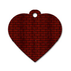 Brick1 Black Marble & Red Wood Dog Tag Heart (one Side) by trendistuff
