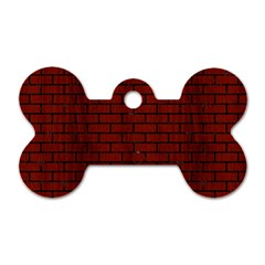 Brick1 Black Marble & Red Wood Dog Tag Bone (two Sides) by trendistuff