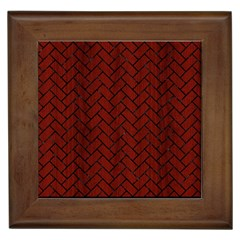 Brick2 Black Marble & Red Wood Framed Tiles by trendistuff