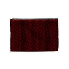 Brick2 Black Marble & Red Wood Cosmetic Bag (medium)  by trendistuff