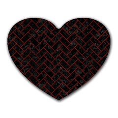 Brick2 Black Marble & Red Wood (r) Heart Mousepads by trendistuff