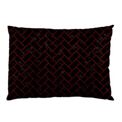Brick2 Black Marble & Red Wood (r) Pillow Case (two Sides) by trendistuff