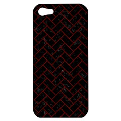 Brick2 Black Marble & Red Wood (r) Apple Iphone 5 Hardshell Case by trendistuff