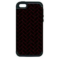 Brick2 Black Marble & Red Wood (r) Apple Iphone 5 Hardshell Case (pc+silicone) by trendistuff