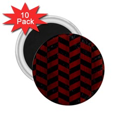 Chevron1 Black Marble & Red Wood 2 25  Magnets (10 Pack)  by trendistuff