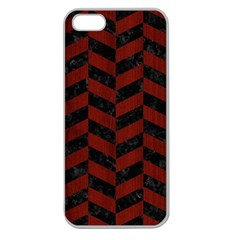 Chevron1 Black Marble & Red Wood Apple Seamless Iphone 5 Case (clear) by trendistuff
