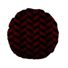 Chevron1 Black Marble & Red Wood Standard 15  Premium Flano Round Cushions by trendistuff