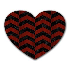 Chevron2 Black Marble & Red Wood Heart Mousepads