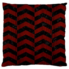 Chevron2 Black Marble & Red Wood Large Cushion Case (two Sides) by trendistuff